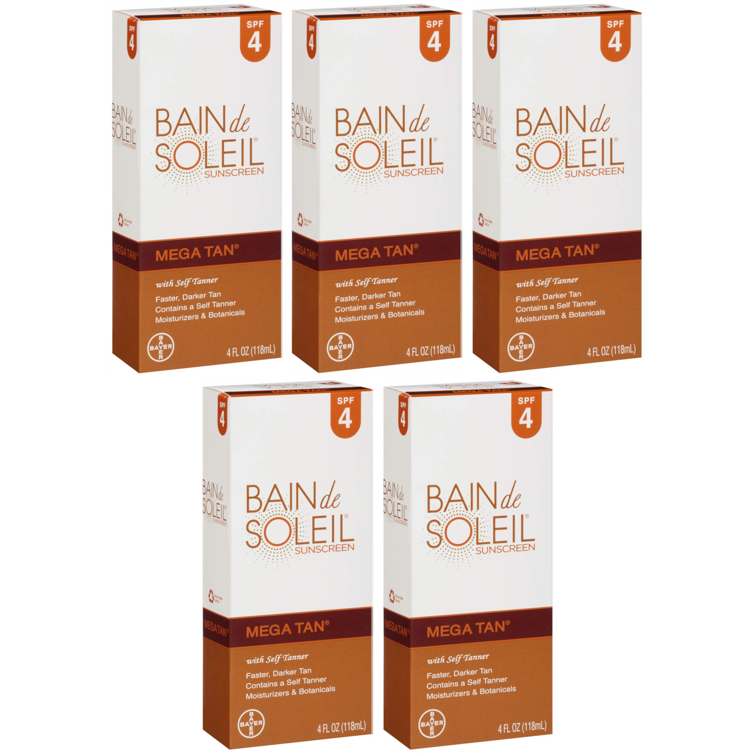 Bain de Soleil Mega Tan Sunscreen With Self Tanner, SPF 4 4 oz (Pack of 5)