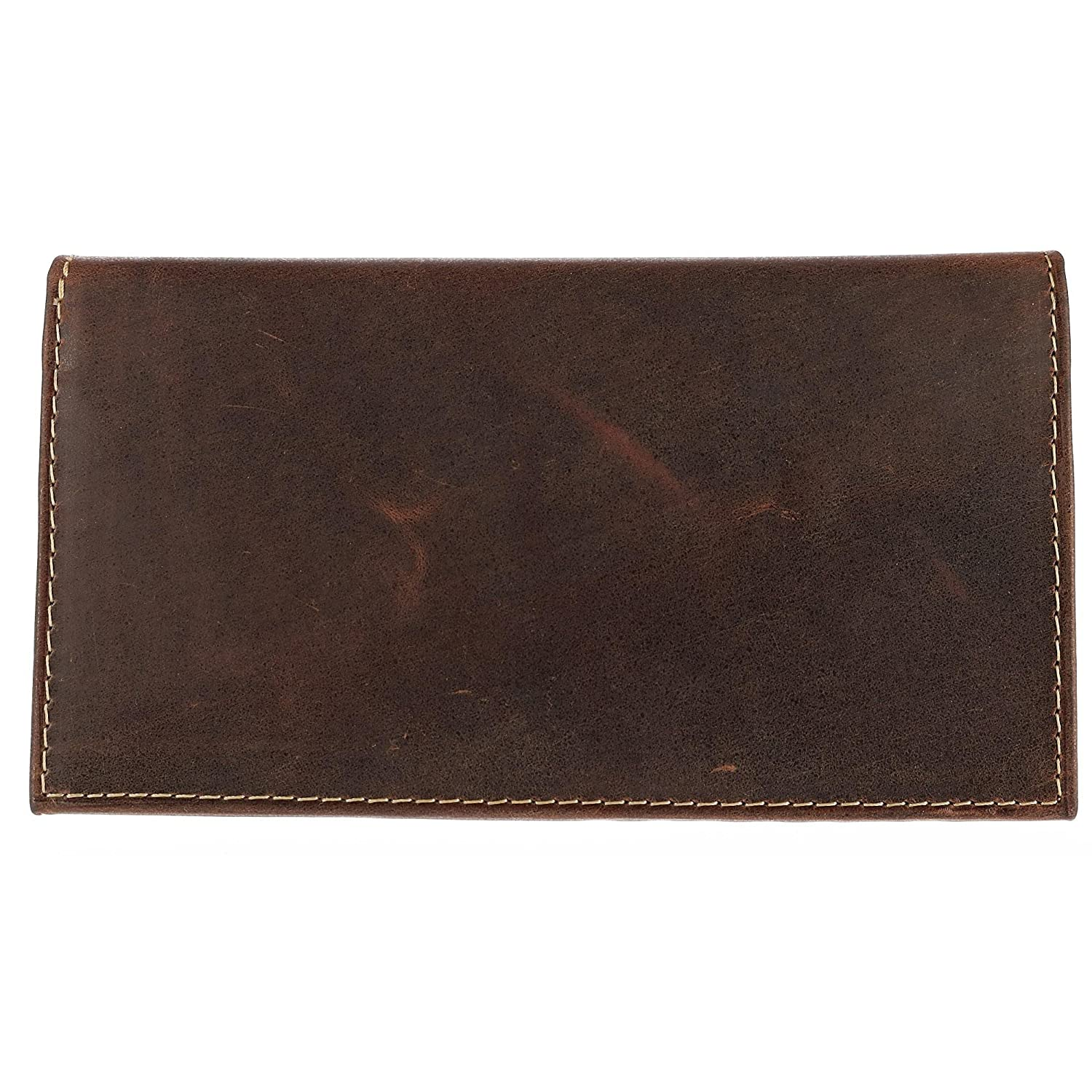 CTM Hunter Leather Distressed Checkbook Cover, Brown CL-54357-BRN