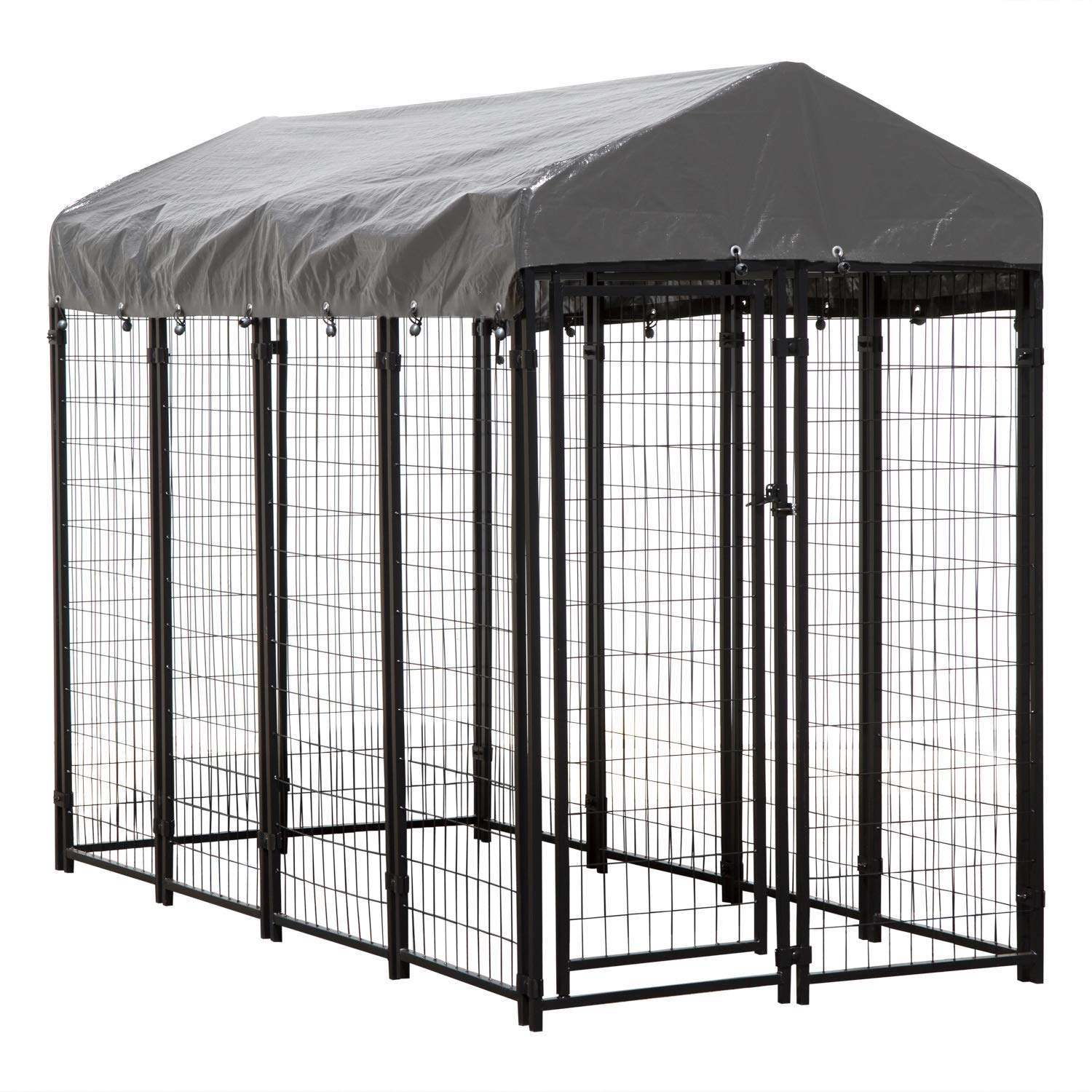 Houseables Dog Kennel, Large Dog Crate, 8 x 4 x 6 ft, Metal, Welded, Pet Cage, Heavy Duty Playpen, Outdoor/Outside Dogs House, Animal Runs, Yard Wire Fence, Crates for Dogs, Big Play Pen with Cover by Houseables