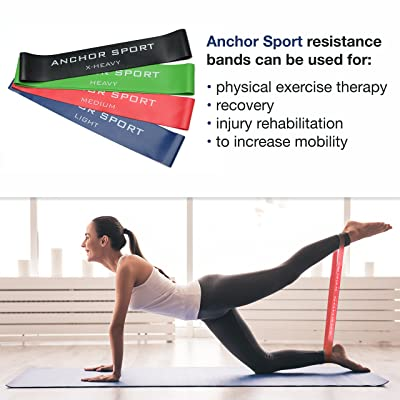 Anchor Sport Lot de 4 bandes de résistance, excellent équipement pour l'entraînement de crossfit, pour améliorer la mobilité et la force, le yoga, le pilates ou la rééducation,