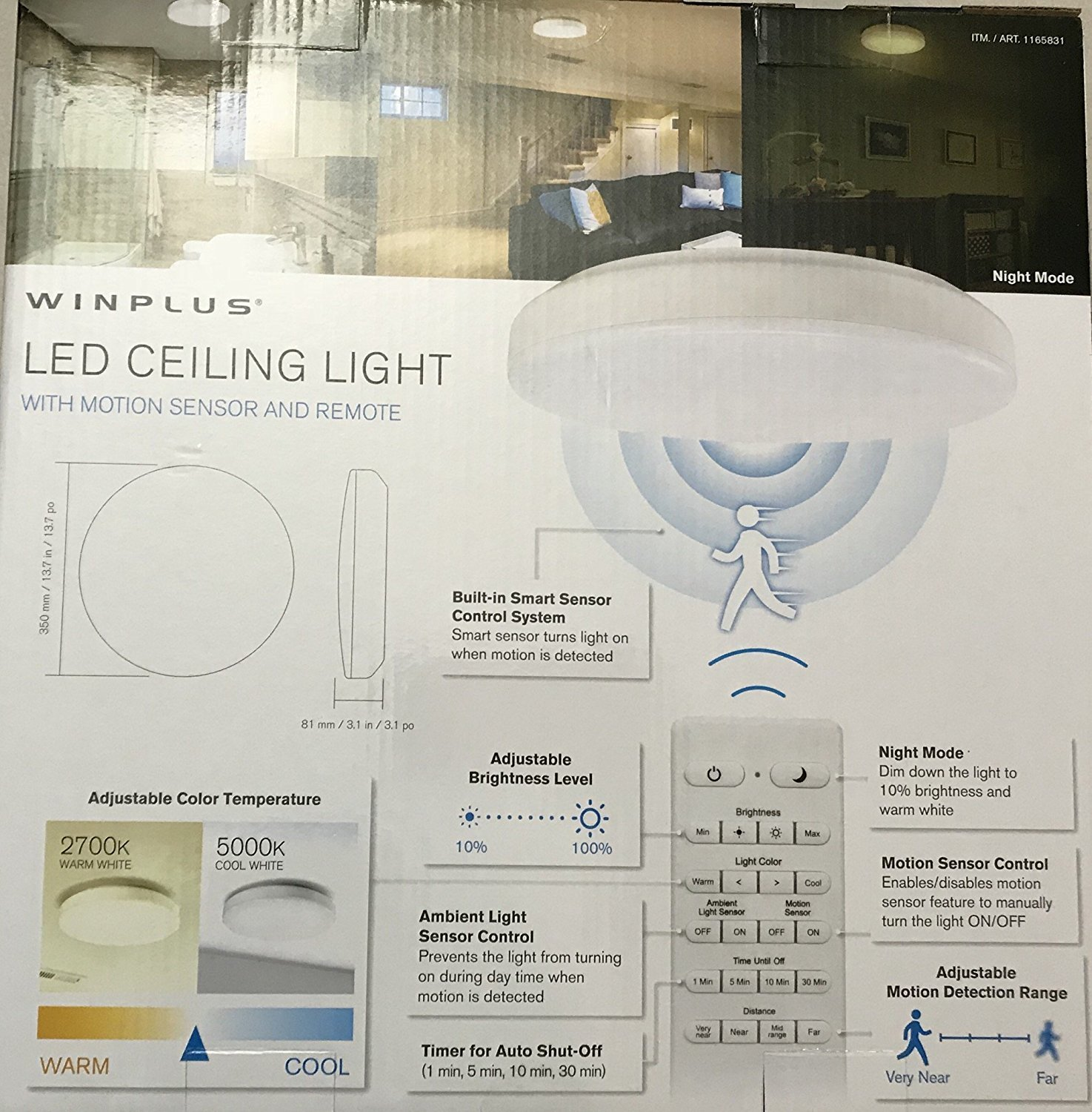 WINPLUS LED CEILING LIGHT WITH MOTION SENSOR AND REMOTE - - Amazon.com