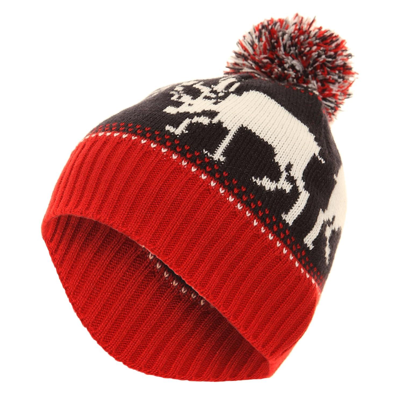 Mens Reindeer Design Christmas Winter Bobble Beanie Hat (One Size ...