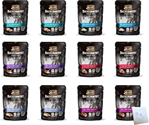 Merrick Backcountry Huge Grain Free Wet Cat Food Pouches - All 6 Flavors: Beef, Chicken, Whitefish, Turkey, Duck, and Rabbit - Plus Pet Paws Notepad (3oz Each, 12 Pouches Total)