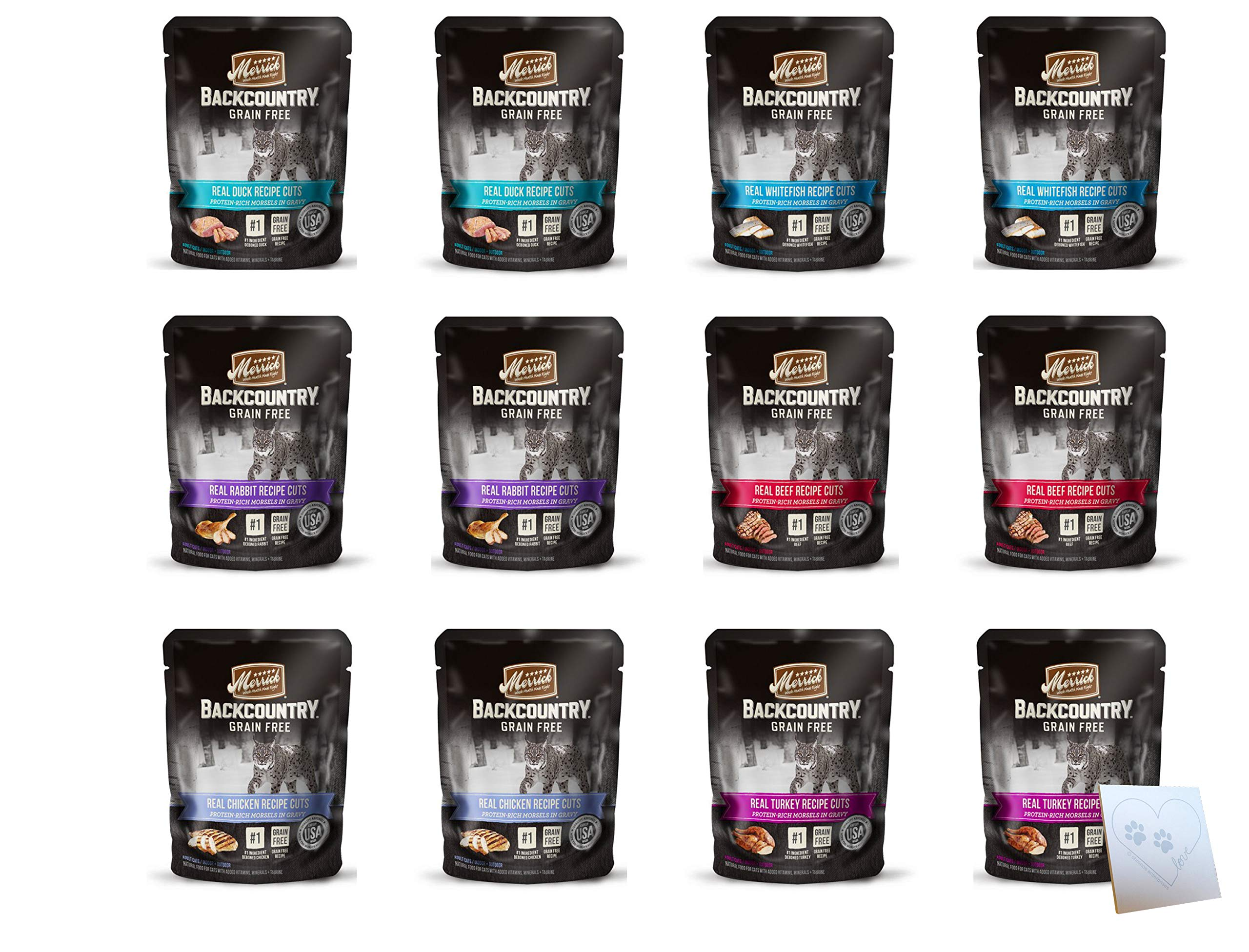 Merrick Backcountry Huge Grain Free Wet Cat Food Pouches - All 6 Flavors: Beef, Chicken, Whitefish, Turkey, Duck, and Rabbit - Plus Pet Paws Notepad (3oz Each, 12 Pouches Total) by Merrick