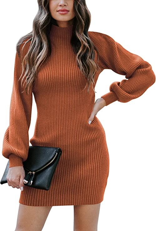 Caracilia Women Turtleneck Long Sleeve Knit Pullover Sweater Bodycon Mini Dress Cute Sweater dresses for women
