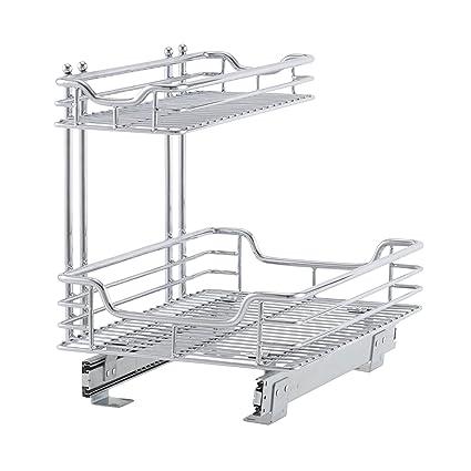 Household Essentials C26512 1 Glidez Under Sink Sliding Organizer Pull Out Cabinet Shelf Chrome 12 5 Inches Wide