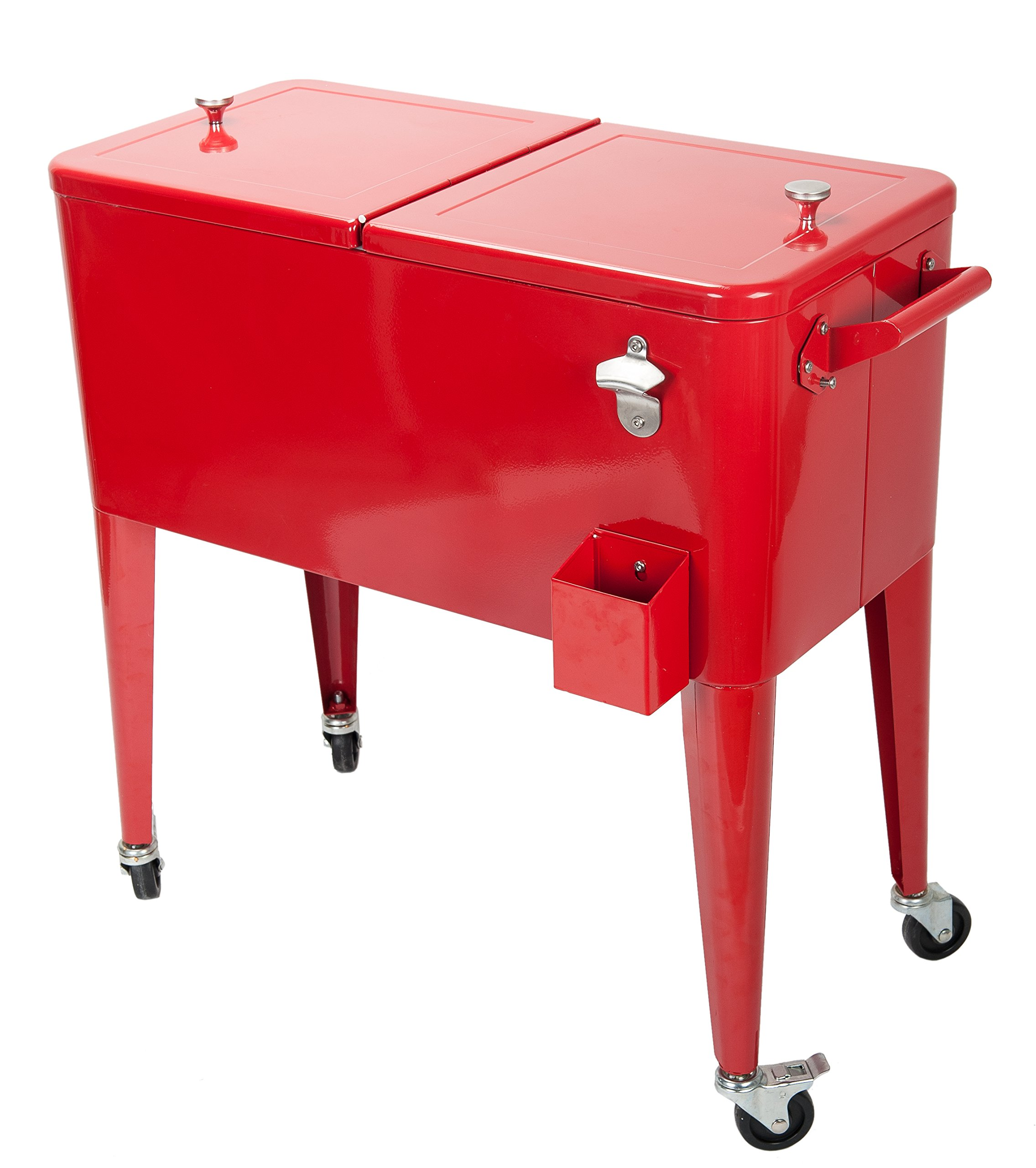 HIO 80 Qt. Outdoor Patio Rolling Cooler Table with Bottle Opener, Red