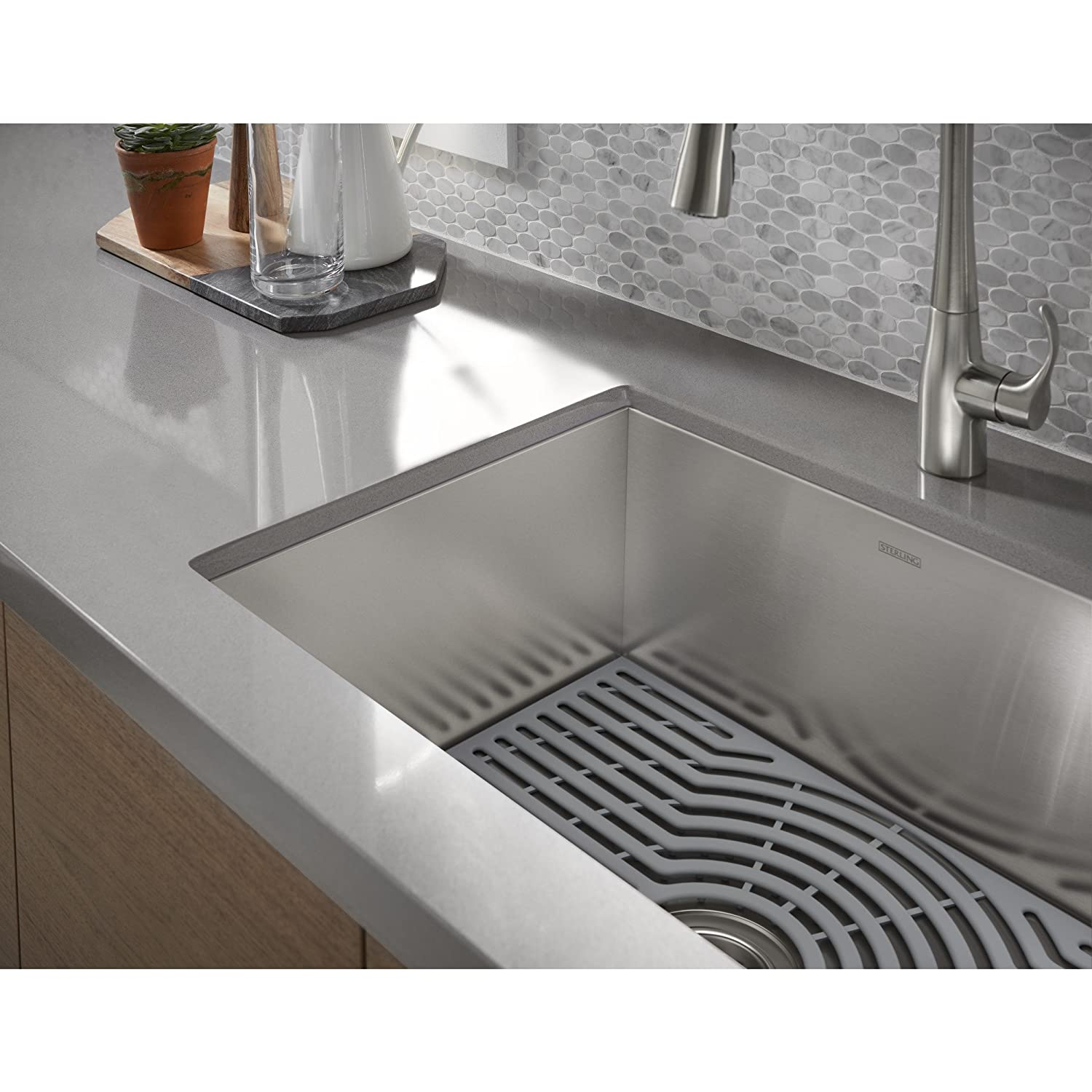 STERLING Stainless Steel a KOHLER Company K-20243-PC-NA STERLING Ludington 34 Under-Mount Single-Bowl Kitchen Sink with Accessories Apron-Front Basin