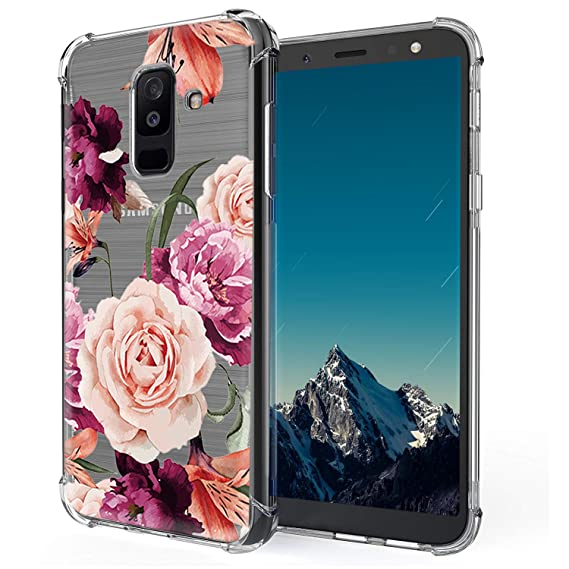 timeless design c4ad5 10cee LUOLNH Galaxy A6 Plus 2018 Case,Samsung Galaxy A6 Plus 2018 Case with  Flower,Slim Shockproof Clear Floral Pattern Soft Flexible TPU Back Cover  for ...
