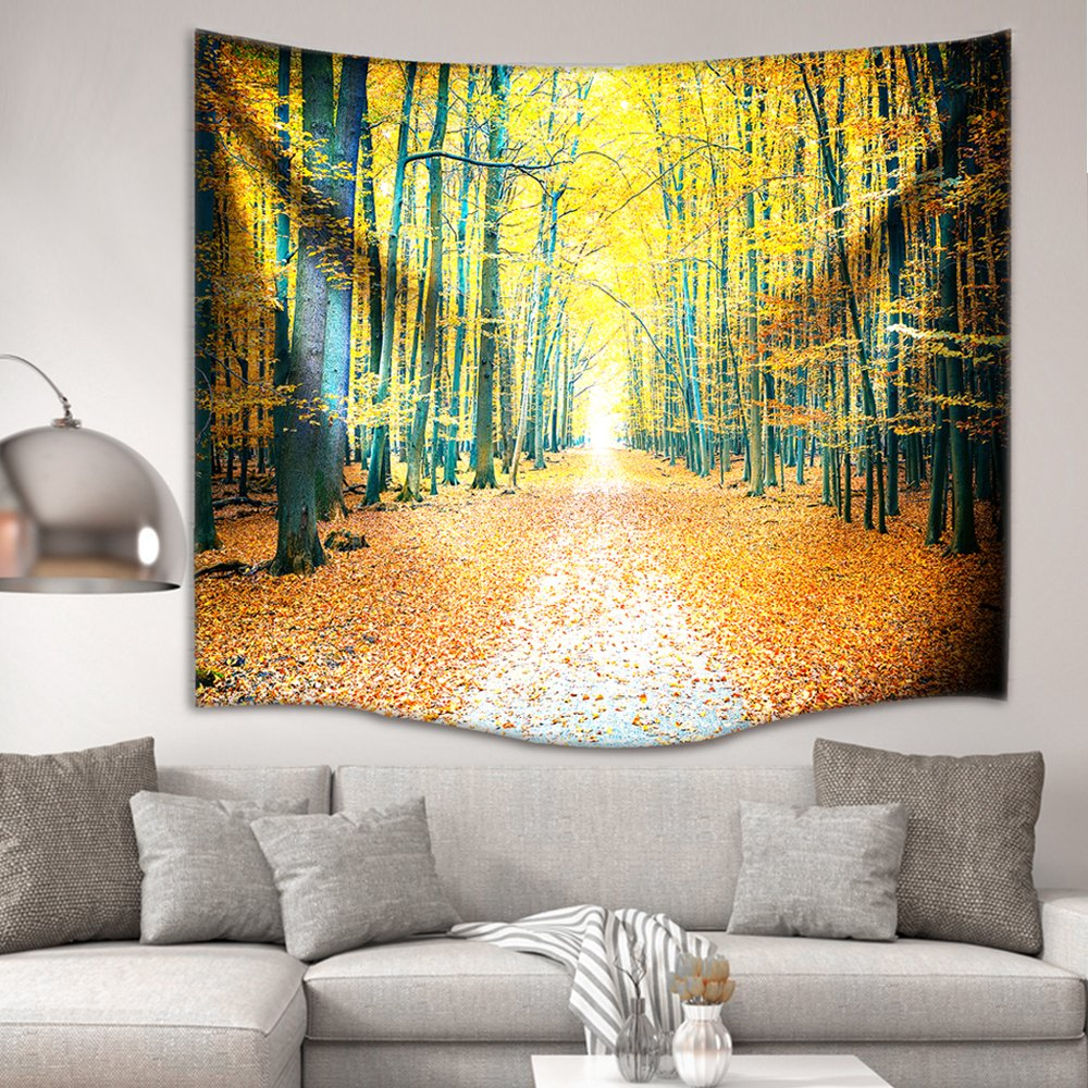 IMEI Golden Forest Tapestry Wall Hanging by, Nature Yellow Autumn Time Fabric Wall Decor Kids Girls Bed Throw Sofa Cover Living Room Dorm (Golden Woods with Leaves, 80 X 60 Inch) by IMEI (Image #3)