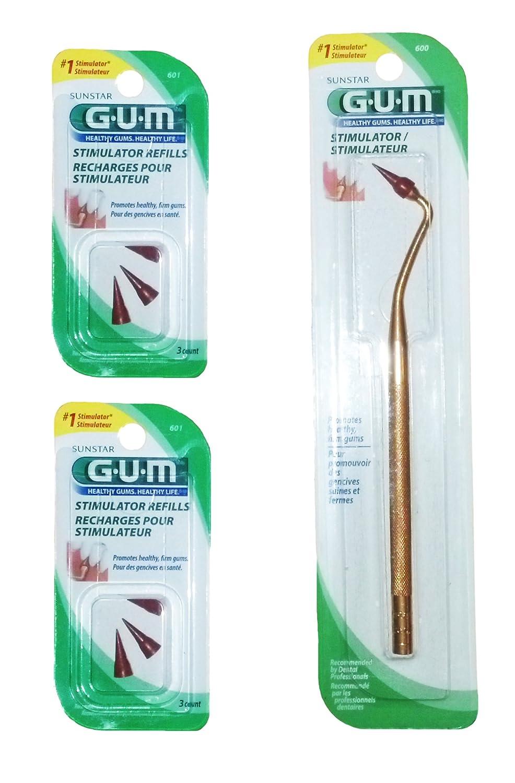 GUM Stimulator with 6 Convenient Refills Rubber Tip Replacements