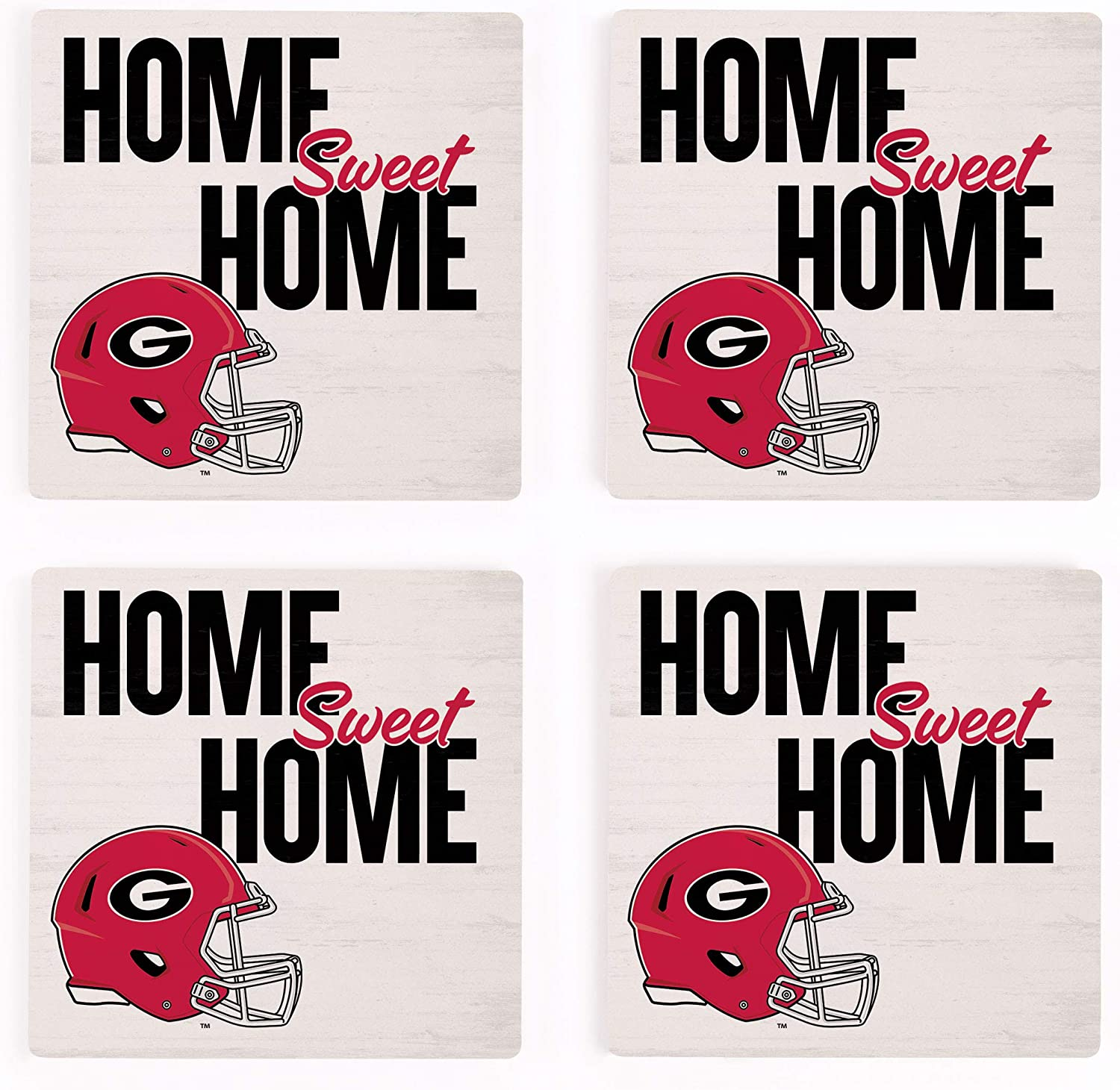 Home Sweet Home University of Georgia Bulldogs NCAA 4 x 4 Absorbent Ceramic Coasters Pack of 4