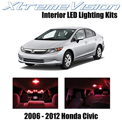 Xtremevision Interior LED for Honda Civic 2006-2012 (10 Pieces) Red Interior LED Kit + Installation Tool: Automotive