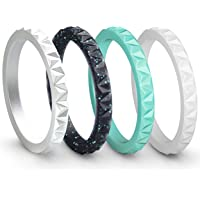 ThunderFit Womens Triangle Diamond Stackable Rings 4 Pack Thin Silicone Wedding Rings