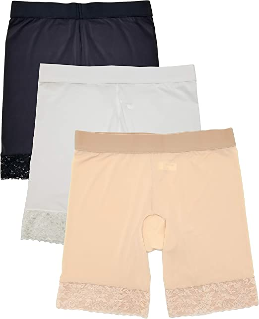 Amazon.com: Slip Shorts para mujer liso encaje 3 Pack 7 ...