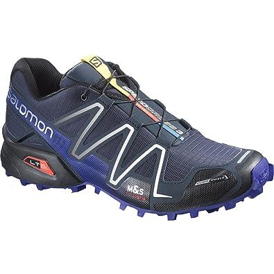 new concept 168e2 8fb56 Salomon Speedcross 3 CS Trail Running Sneaker Shoe - Deep Blue   Spare Black  Quicklace -