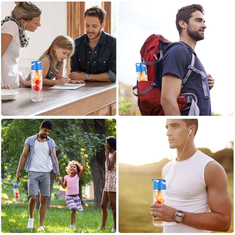 27oz Fruit Infusion Sports Water Bottle Leak Proof Innovative Infuser BPA-Free Fruit Infusion Sports Bottle Flip Top Lid w Drinking Spout BPA Free