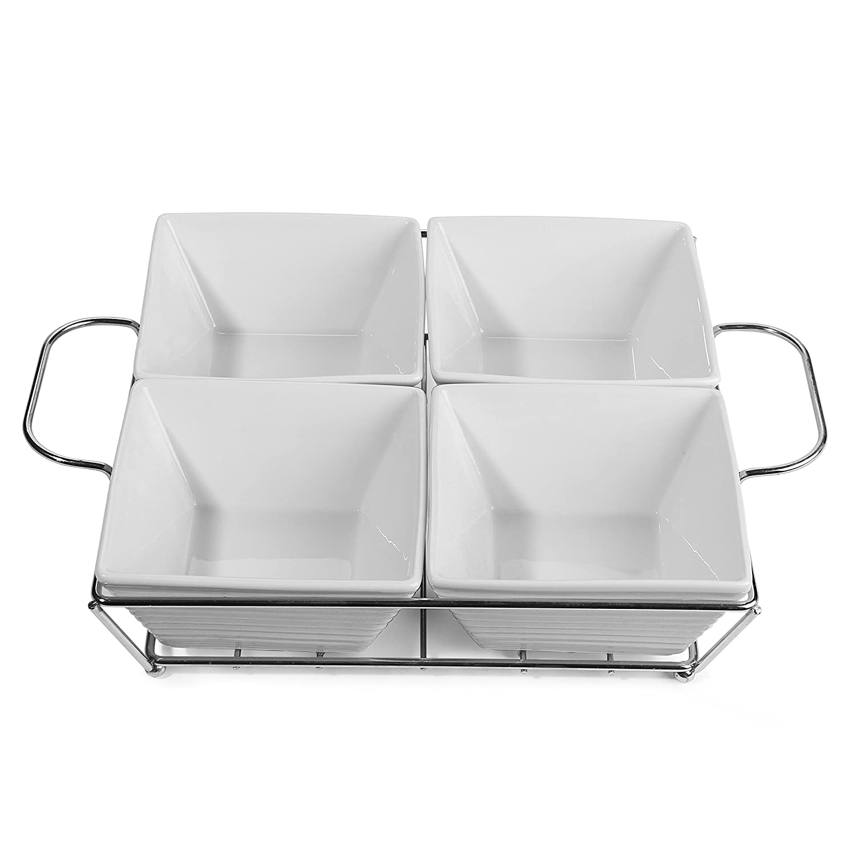 Amazoncom 5 Piece White Ceramic Relish Serving Set, 4 Condiment &