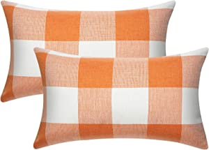 JUSPURBET Christmas Lumbar Buffalo Check Plaid Throw Pillow Covers,Pack of 2 Farmhouse Cotton Linen Pillow Cushion Case for Couch Bed Sofa,12x20 Inches,Orange and White