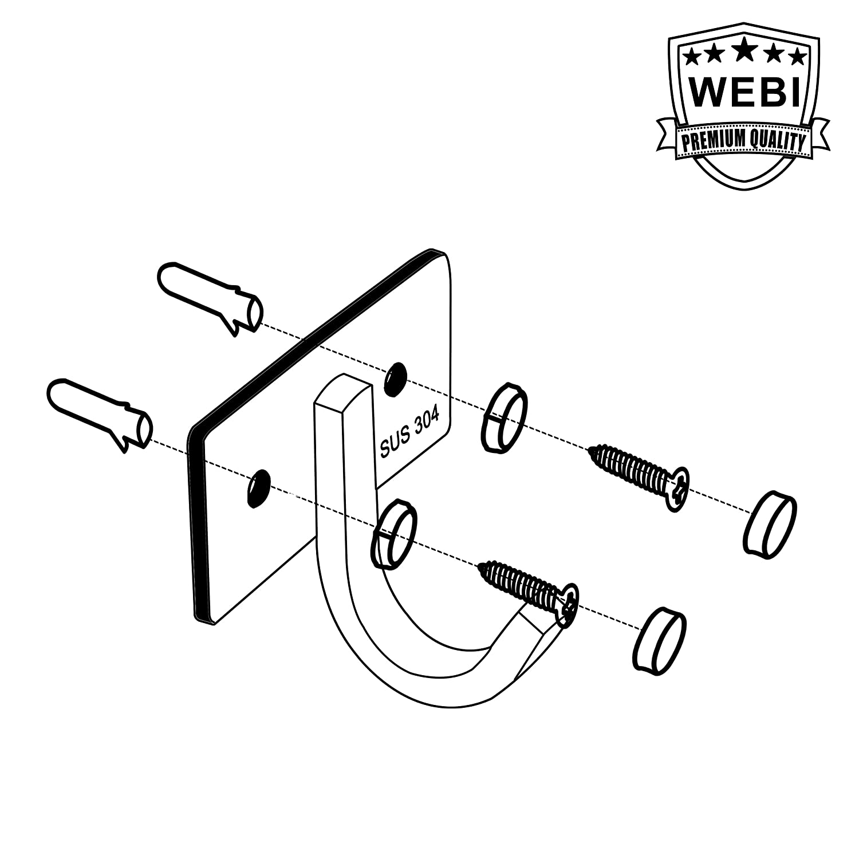 WEBI Coat Hook Entryway J-DBG01-1 AX-AY-ABHI-107251 Heavy Duty SUS 304 Bath Towel Hook Hanger Rail Bar Hallway Bathroom for Bedroom Brushed Finish Great Home Office Storage /& Organization Foyer
