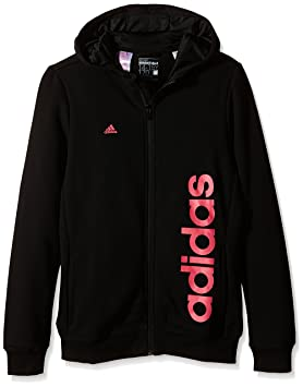 adidas Essentials Linear Veste à Capuche Fille 110 Noir Rose  Amazon ... e0513f48629