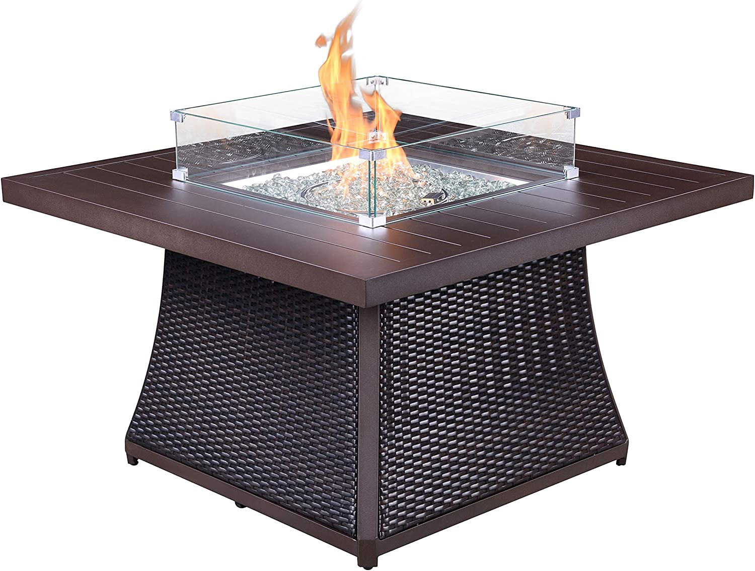 Kinger Home Propane Fire Pit Table, 50,000 BTU, 42 Inch Aluminum Rattan Wicker Fire Table, Outdoor Fire Pit Gas Propane, Slide Out Tank Holder with Glass Wind Guard, Glass Beads, Cover, and Lid, Brown