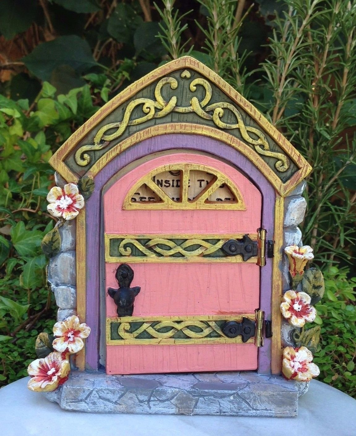 Miniature Dollhouse Fairy Garden Pink Floral Door Opens With Hidden Message