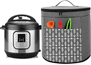 Yarwo Pressure Cooker Dust Cover Compatible with 6 Quart Instant Pot, Double Layers Nylon Cover with Pockets and Wipe Clean Liner, Gray with Arrow (Patent Pending)