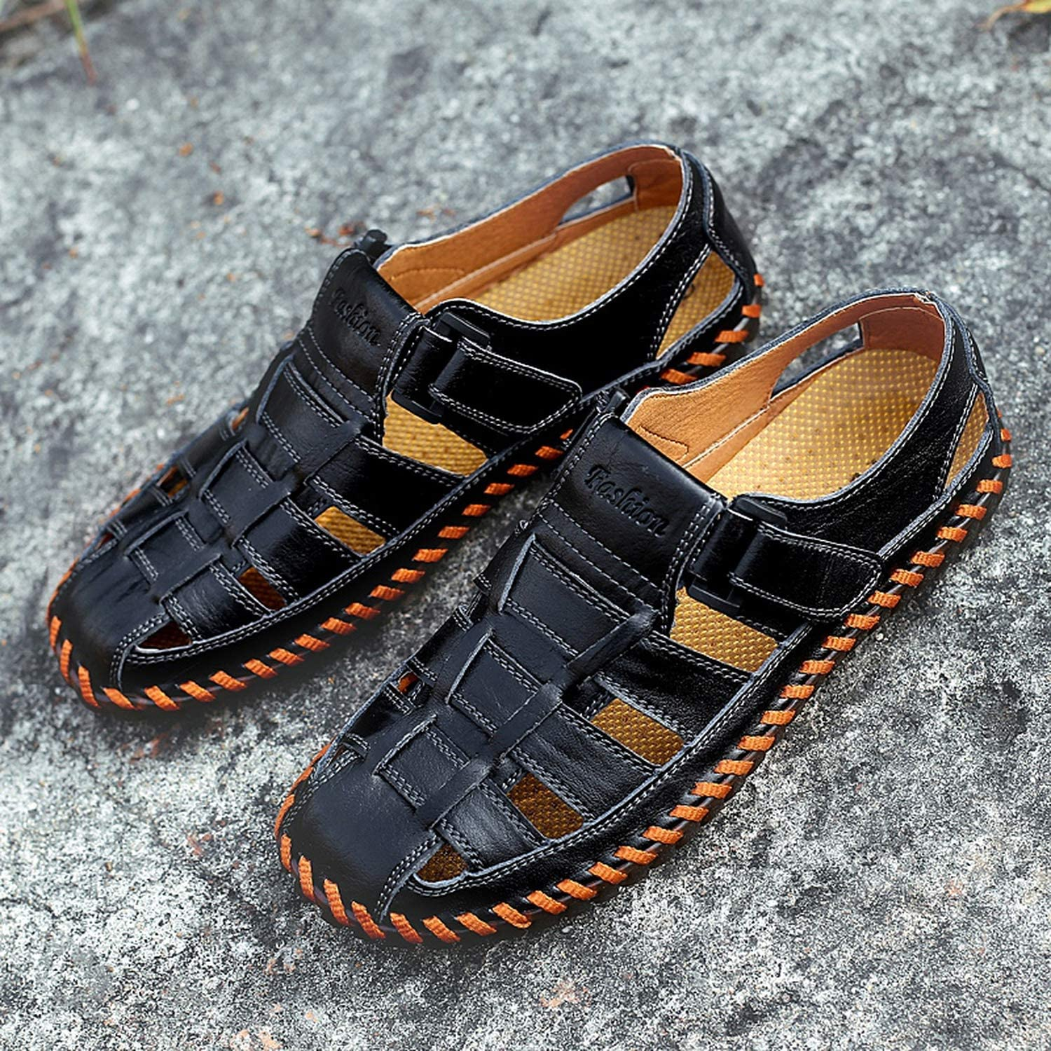 Mens Sandals Real Leather Outdoor Sandals Summer Handmade Men Shoes Mens Sandals Breathable Summer Walking Sandals,Yellow,9.5