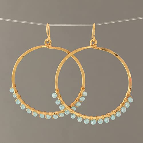 1ad83133d Image Unavailable. Image not available for. Color: Light Blue Beaded  Wrapped Gold Hoop Earrings