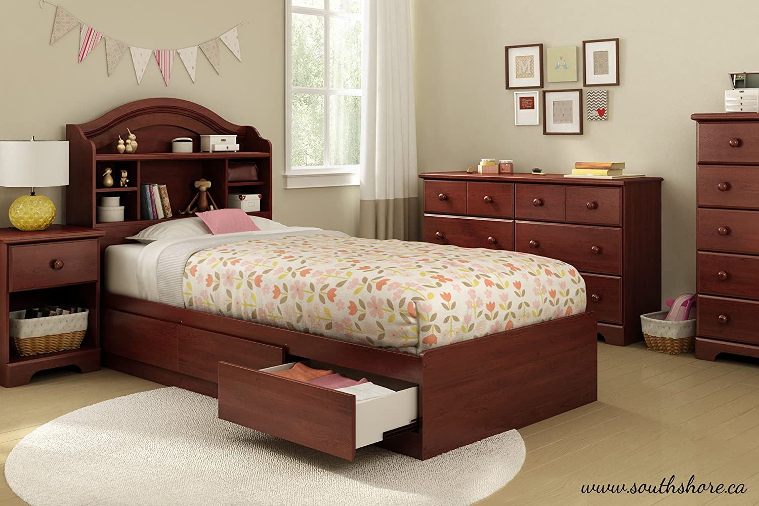 Amazoncom Summner Breeze Twin Storage Bed Royal Cherry Home