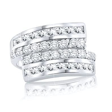 88e1aa3967a50 Women's Sterling Silver .925 Designer Ring Featuring Prong and Channel Set  Cubic Zirconia (CZ) Stones