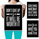 Don't Give Up (3-Set) Motivational Inspirational (13x19) Poster Quote Wall Workout Sports Art – Black & White Boy Girl Teen Fitness Wall Home Decor Office Classroom Dorm Room Gym Entrepreneur