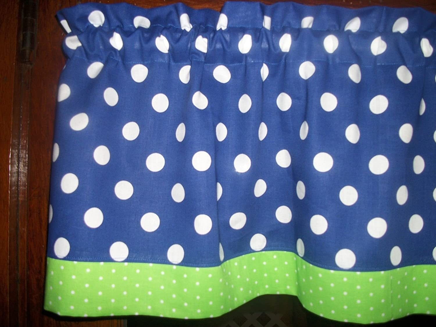 Amazon.com: Royal-Blue-Lime-Green-Polka-Dot-fabric-kitchen-topper ...