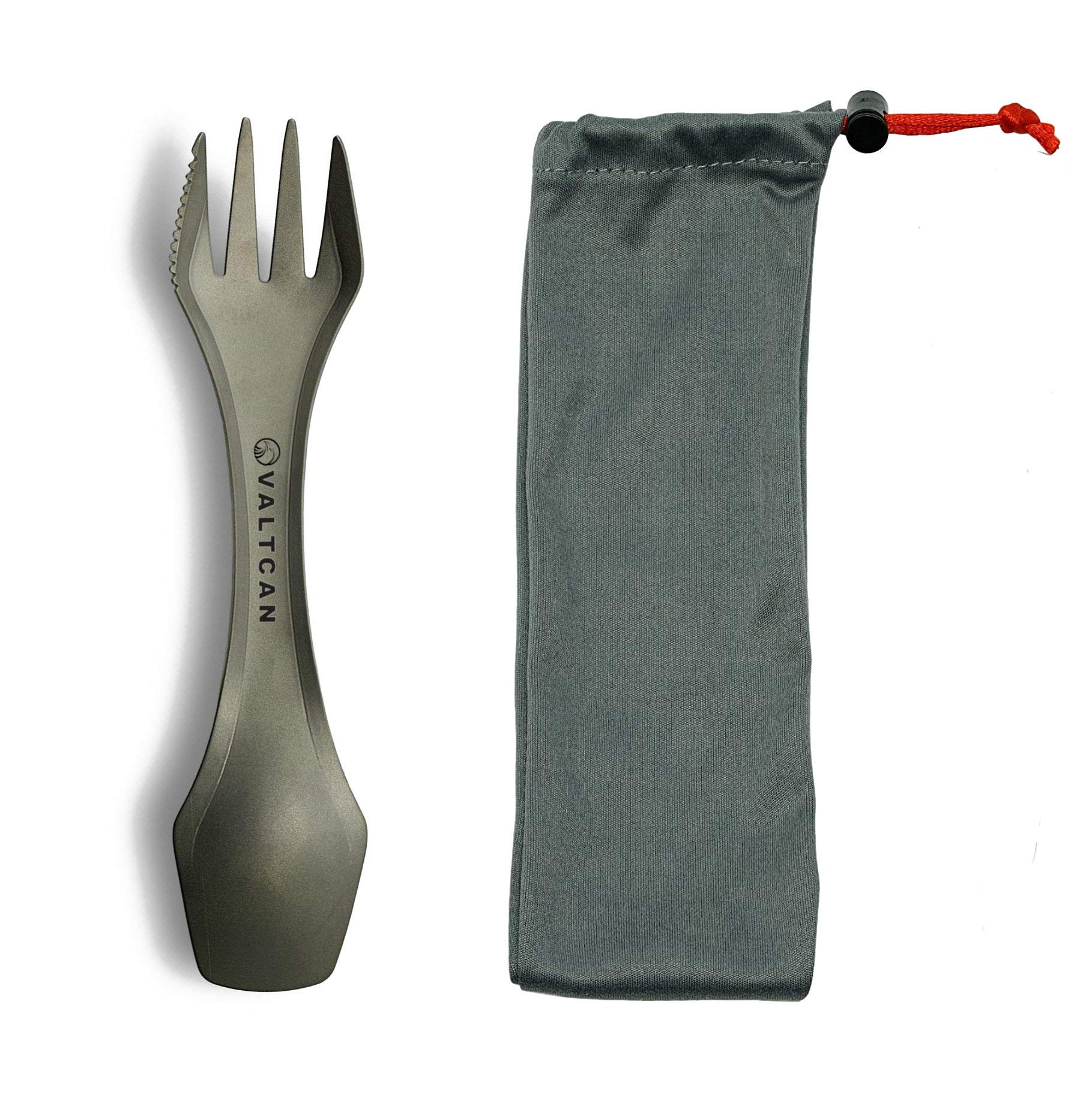 Valtcan Titanium Spork for Hiking Camping Outdoor Lunch Home Office Meals on The Go Lightweight and Sturdy 3-in-1 Fork Spoon Knife Combo Set Utensil Flatware