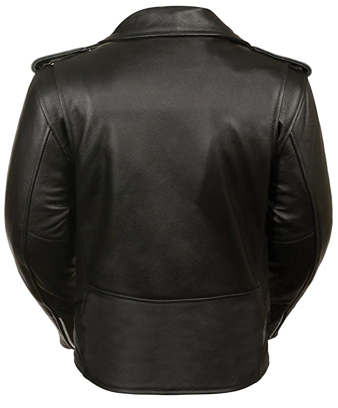 Ladies Leather Motorcycle Leather Jacket Plain Sides