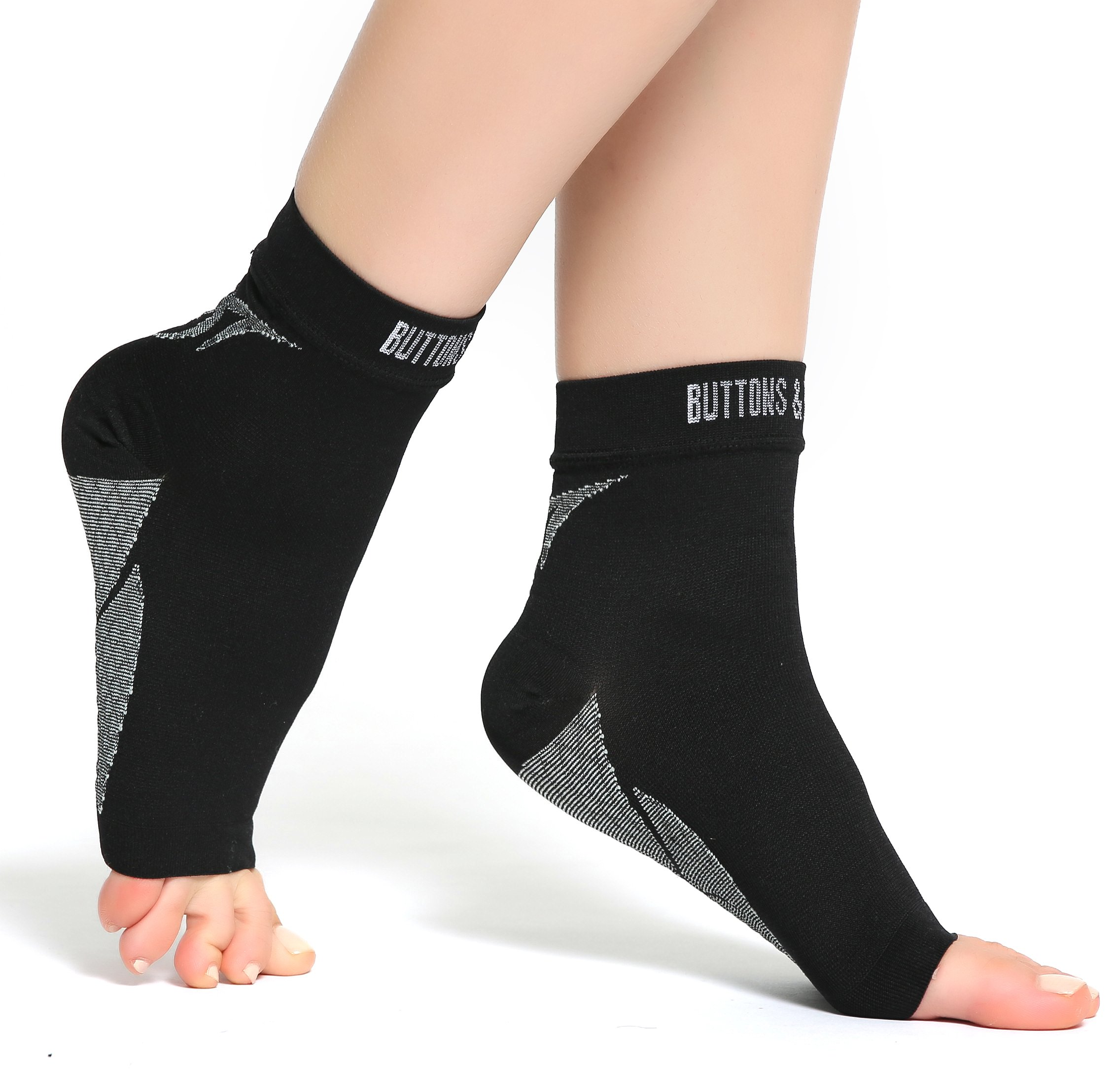 Buttons & Pleats Plantar Fasciitis Socks with Arch & Ankle Support, Best Foot Care Compression Sock Brace Support M Black
