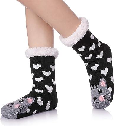 Brand New Girls Slipper Socks // Snuggle Slippers Furry Size 1//2 Grey