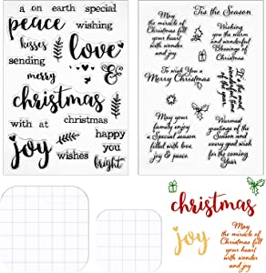 4 Pieces Words Christmas Clear Stamps Set Silicone Christmas Greeting Stamps Sentiments Merry Christmas Crafts Stamps Acrylic Stamp Blocks Tools with Grid Lines for Card Making Decor DIY Scrapbooking