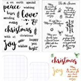 4 Pieces Words Christmas Clear Stamps Set Silicone Christmas Greeting Stamps Sentiments Merry Christmas Crafts Stamps…