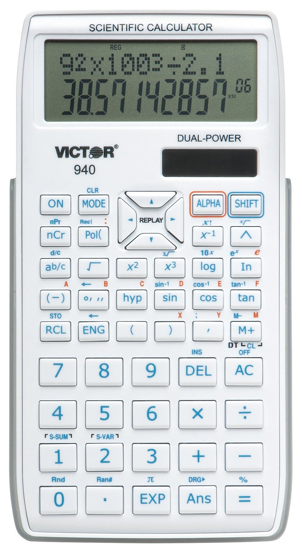 Victor 940 10-Digit Advanced Scientific Calculator with 2 Line Display, Battery and Solar Hybrid Powered LCD Display, Great for Students and Professionals, White by Victor