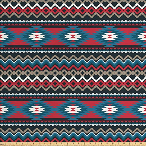 Amazon Com Ambesonne Native American Fabric By The Yard Primitive
