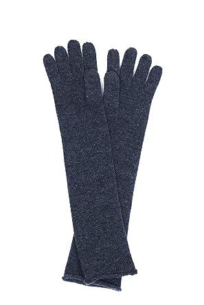 9d77653cd1cb6f Edle und lange 100% Kaschmir Handschuhe, Touchscreen tauglich für Damen  (Grau/Anthrazit