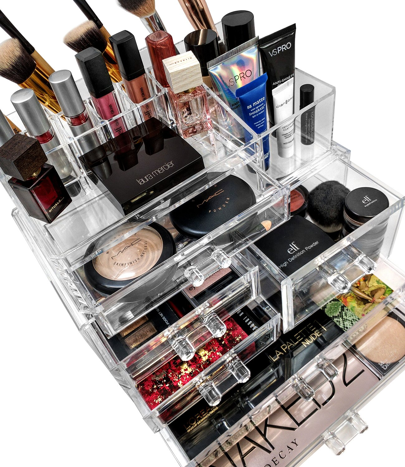 Amazon.com: Sorbus Acrylic Cosmetics Makeup And Jewelry Storage Case  Display Sets  Interlocking Drawers To Create Your Own Specially Designed  Makeup Counter ...