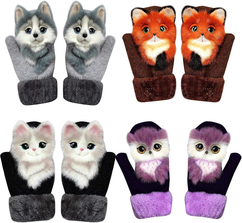 Full Fingers Gloves Cute Thickening Cartoon Simulation Animal Soft Warm  Mitten