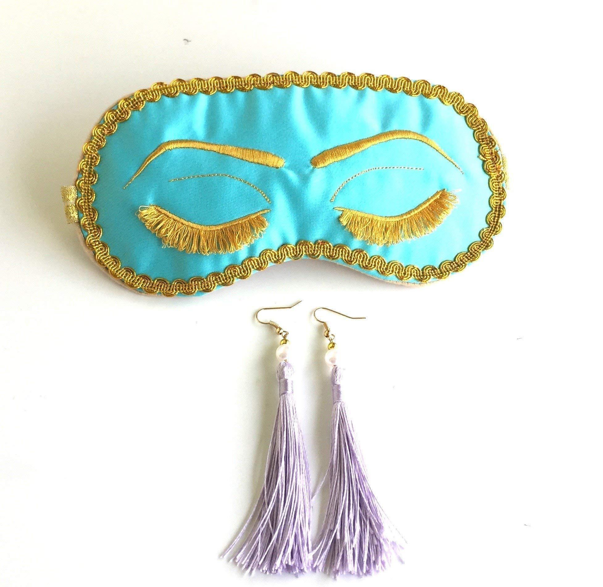 Handmade Breakfast at Tiffany's Eyelashes Sleep Mask Tassel Ear Plugs Set Bachelorette Party Mask.