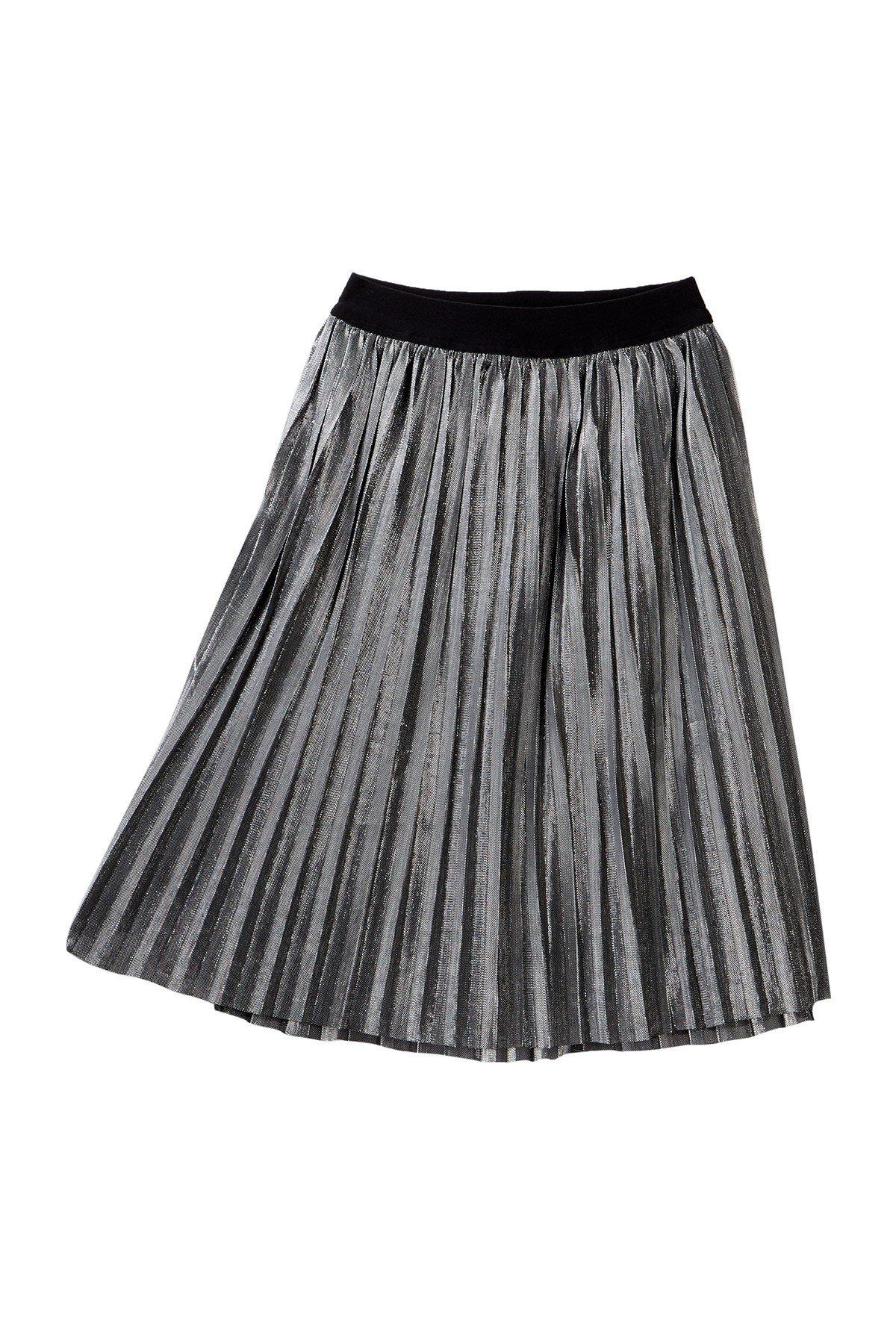 love, FiRE Black Girls Large Pleated Metallic Skirt Silver L