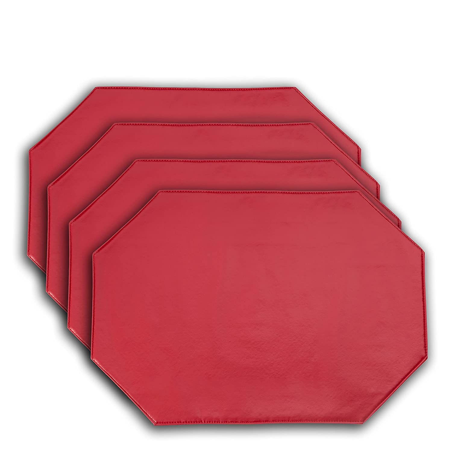 Yourtablecloth Galaxy Vinyl Table Placemat Placemats with Thicker Construction Set of 4 Similar Color Mats Heavy Duty, Premium Finish Double Layer Design Ruby Red Placemats