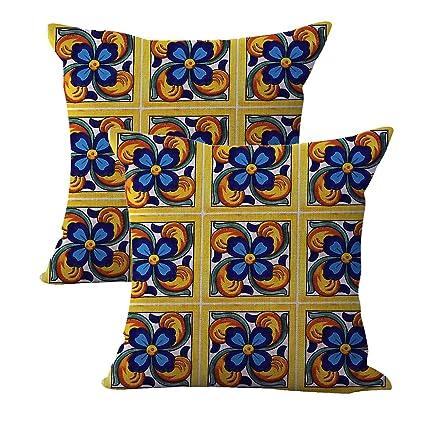 Amazon Set Of 40 Talavera Mexican Spanish Cushion Cover Interesting Cheap Decorative Pillows Wholesale