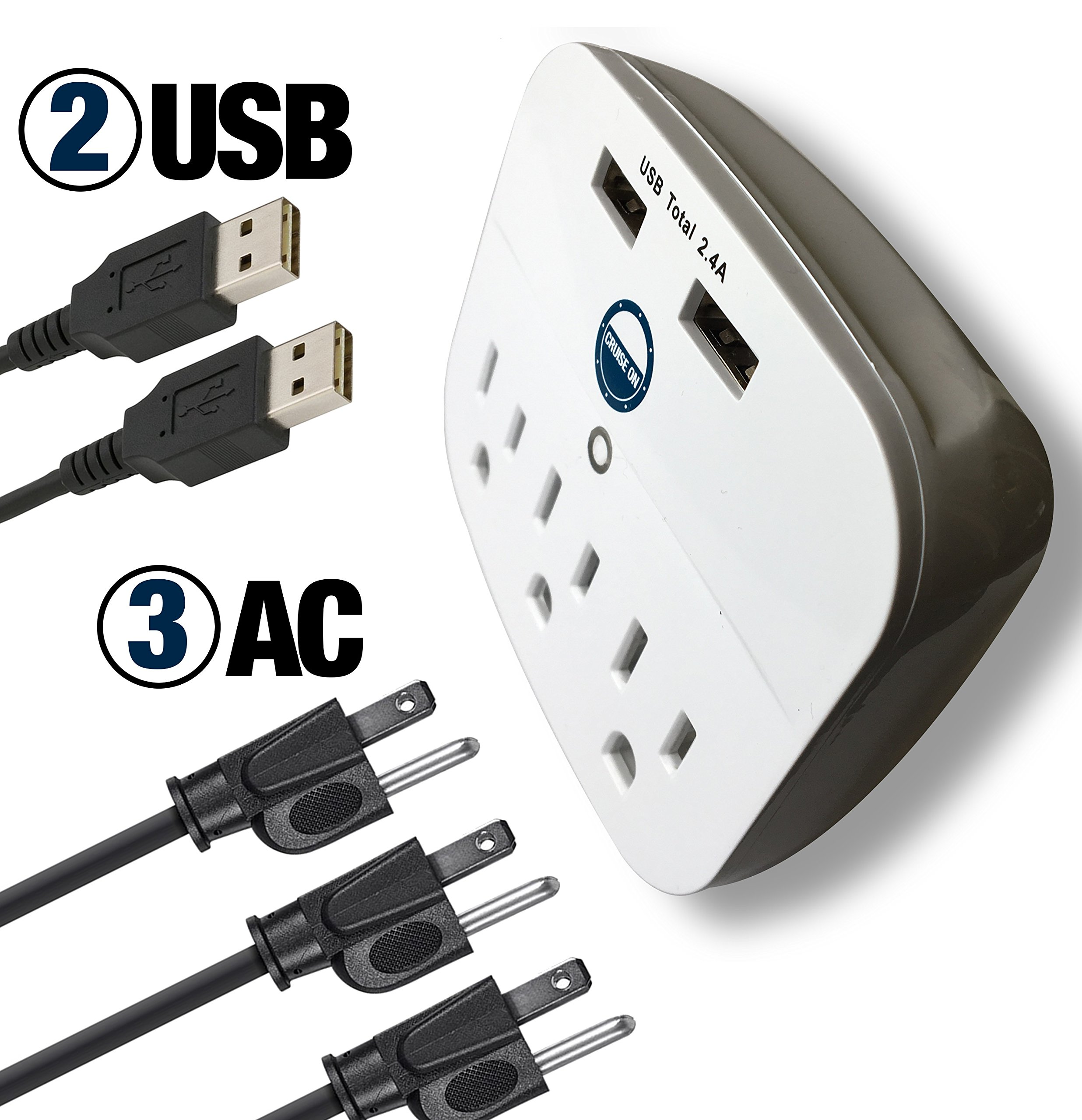 Cruise Power Strip with USB Outlets - Non Surge Protection - Cruise Ship Approved by Cruise On (Image #5)